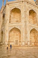 A low angle of the side of the Taj Mahal in Agra, Uttar Pradesh, India