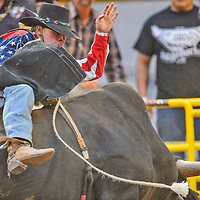 Dakota Ogden struggles to stay on his bull during the Megabucks bull riding competition on Friday at Dean C. Jackson Arena in Window Rock. Ogden would stay on to score 81.5.