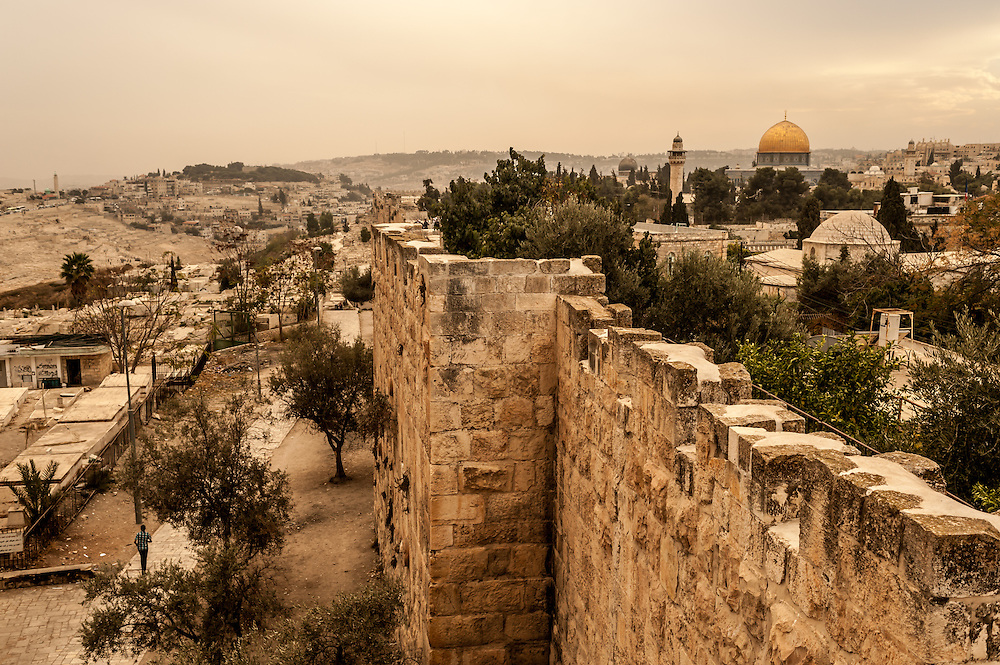Inside and outside the city wall, from the ramparts walk, Jerusalem