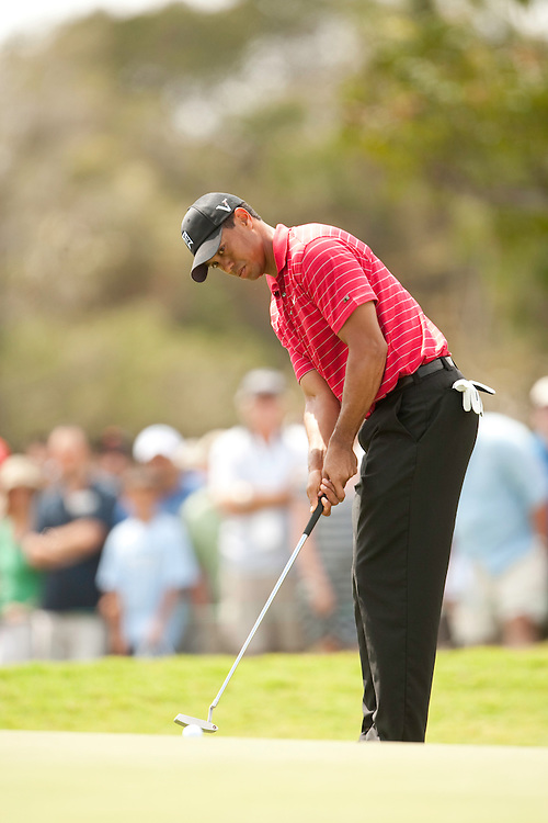 DORAL, FL - MARCH 15:  Tiger Woods putts during the fourth round of the 2009 WGC-CA Championship at Doral Golf Resort and Spa in Doral, Florida on Sunday, March 15, 2009. (Photograph by Darren Carroll) *** Local Caption *** Tiger Woods
