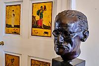 République d'Irlande, Dublin,  Irish Writers Center, musée des écrivains, buste de James Joyce // Republic of Ireland, Dublin, Irish Writers Center, writers museum, James Joyce bust