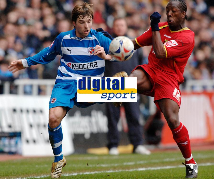 Photo: Daniel Hambury.<br />Reading v Watford. Coca Cola Championship. 11/03/2006.<br />Reading's Bobby Convey (L) and Watford's Lloyd Doyley battle.