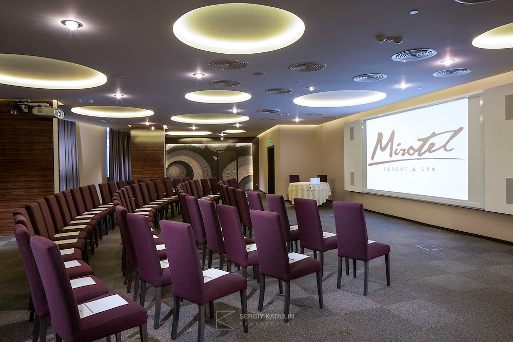 Interior view of conference and meeting room  in Mirotel Resort & Spa hotel. Mirotel is 5* resort located in the heart of Truskavets, in western Ukraine.