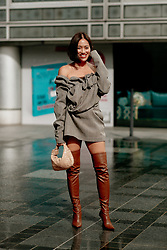Street style, Tiffany Hsu arriving at Ludovic de Saint Sernin Spring Summer 2022 show, held at Institut du Monde Arabe, Paris, France, on Ocotber 3rd, 2021. Photo by Marie-Paola Bertrand-Hillion/ABACAPRESS.COM