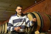 Frédéric Pourtalié Domaine de Montcalmes in Puechabon. Terrasses de Larzac. Languedoc. Barrel cellar. Owner winemaker. France. Europe.