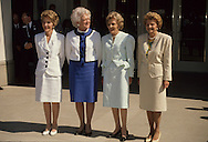 The First Ladies pose at the opening of the Nixon Library on July 19, 1990 in Yorba Linda, California...Photograph by Dennis Brack bb24