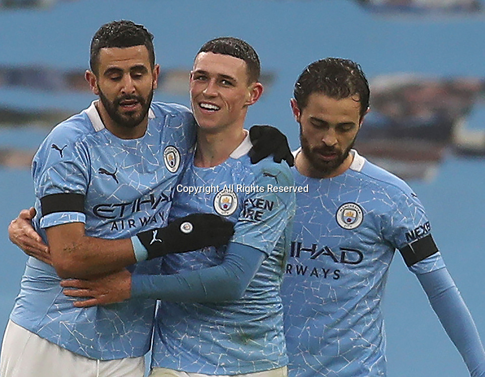 10th January 2021; Etihad Stadium, Manchester, Lancashire, England; English FA Cup Football, Manchester City versus Birmingham City; Phil Foden of Manchester City celebrates scoring his side's third goal after 33 minutes