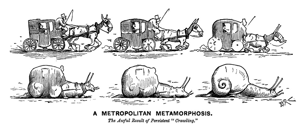 "A Metropolitan Metamorphosis. The awful result of persistent ""crawling."" (a Victorian cartoon shows a horse drawn taxi cab gradually morphing into a snail during a London traffic jam)"