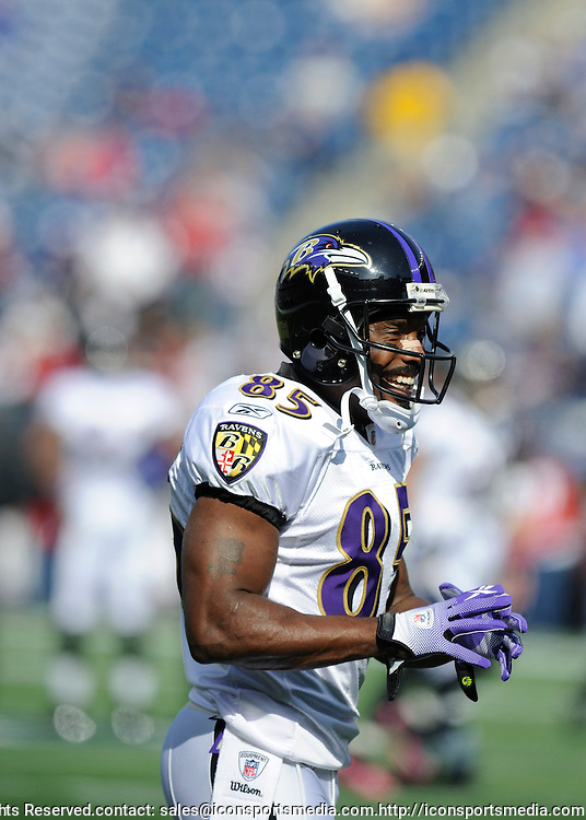 17 October 2010: Ravens wide receiver Derrick Mason during the New England Patriots game against the  Baltimore Ravens at Gillette Stadium in Foxborough, Massachusetts. Patriots win 23-20 in overtime.