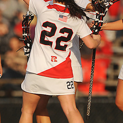 Rutgers senior midfielder Ali Steinberg celebrates a goal with teammate senior attacker Danielle Mascera (22)Temple defeated Rutgers 12-11 in NCAA women's college lacrosse at the Rutgers Turf Field in Piscataway, N.J.