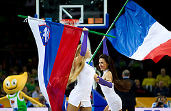 Cheerleaders with French (R) and Slovenian flag during basketball game between National basketball teams of Slovenia and Lithuania at of FIBA Europe Eurobasket Lithuania 2011, on September 15, 2011, in Arena Zalgirio, Kaunas, Lithuania. Lithuania defeated Slovenia 80-77.  (Photo by Vid Ponikvar / Sportida)