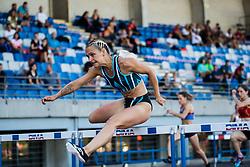 Nika Glojnaric competes in Women's 100m hurldes sprint during day one of the 2020 Slovenian Cup in ZAK Stadium on July 4, 2020 in Ljubljana, Slovenia. Photo by Grega Valancic / Sportida
