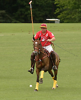 Town of Wallkill, NY - A player on horseback races after the ball during a polo match at the Blue Sky Polo Club on Aug. 19, 2007.