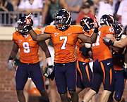 Sept. 3, 2011 - Charlottesville, Virginia - USA; Virginia Cavaliers safety Corey Mosley (7) celebrates during an NCAA football game against William & Mary at Scott Stadium. Virginia won 40-3. (Credit Image: © Andrew Shurtleff