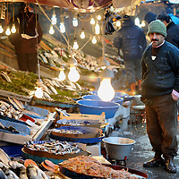 Istanbul, Turkey 18 February 2008<br /> A fish market view, besides the Galata Bridge.  Istanbul, historically Byzantium and later Constantinople, is Turkey's most populous city, and its cultural and financial center. Photo: Ezequiel Scagnetti