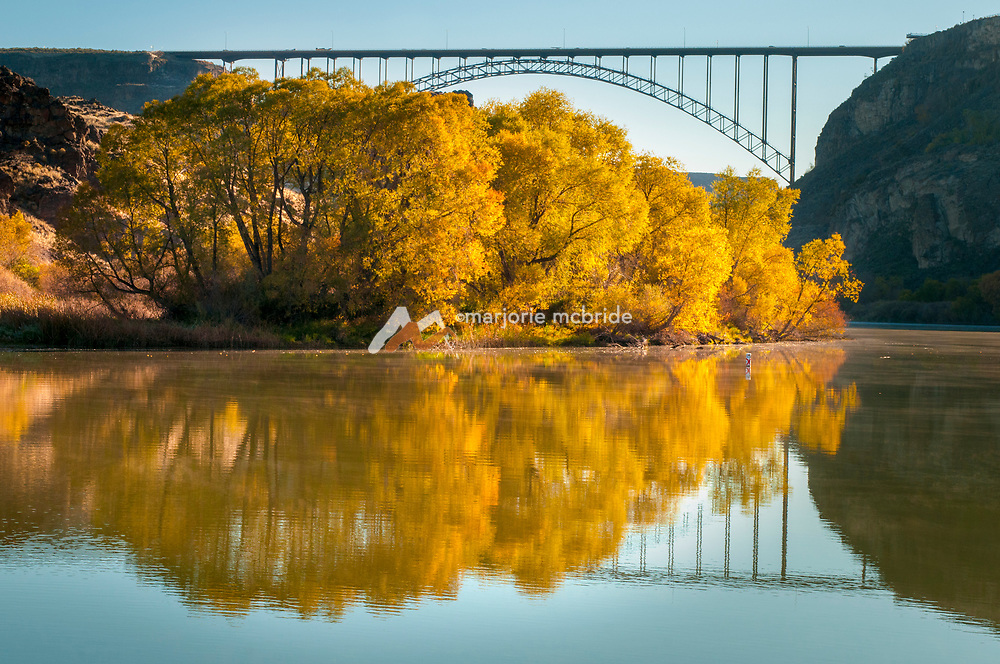 Autumn scenic view of the Snake River canyon and iconic Perrine Bridge in Twin Falls, Idaho.