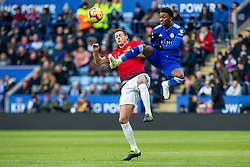 February 3, 2019 - Leicester, England, United Kingdom - Nemanja Matic of Manchester United has a close encounter with Demarai Gray of Leicester City during the Premier League match between Leicester City and Manchester United at the King Power Stadium, Leicester on Sunday 3rd February 2019. (Credit Image: © Mi News/NurPhoto via ZUMA Press)