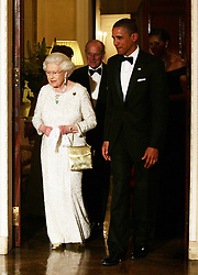 US President Barack Obama and First Lady Michelle Obama bid farewell to Queen Elizabeth II and The Duke of Edinburgh at Winfield House - the residence of the Ambassador of the United States of America - in Regent's Park, London.