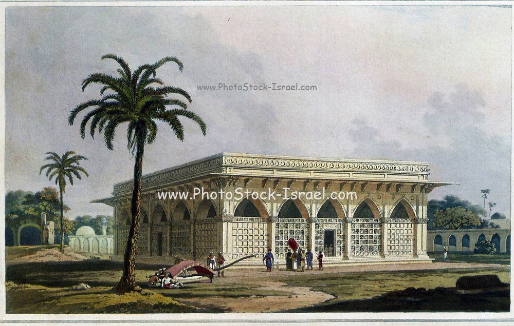 The Mausoleum of Amir Khusero, at the Ancient city of Delhi, 1801 This mausoleum was misidentified by the Daniells as the tomb of the celebrated Delhi poet Amir Khusrau, which lies nearby in the tomb complex of Nizamuddin. It is in fact the tomb of Mirza 'Aziz Koka, foster brother of the Emperor Akbar, who died in 1623/24. It is one of the earliest of a new type of Mughal tomb, the flat-roofed hypostyle hall, here encased in white marble, with white marble jalis or pierced screens around the sides. It is known as the Chaunsath Kambha or '64 pillared hall' from the number of its pillars: it consists of 6 by 6 bays, with pillars doubled round the periphery, and quadrupled at the corners. From the book ' Oriental scenery: one hundred and fifty views of the architecture, antiquities and landscape scenery of Hindoostan ' by Thomas Daniell, and William Daniell, Published in London by the Authors May 1, 1813