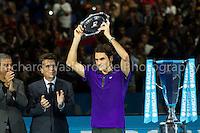 Barclays ATP World Tour Finals 2012 ..Roger Federer (SUI)  loses to Novak Djokovic (SRB)  7:6  7:5 in the Final..Images taken by Richard Washbrooke