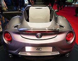Detail of Alfa Romeo 4C car at Paris Motor Show 2016