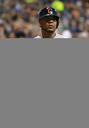May 8, 2018 - Milwaukee, WI, U.S. - MILWAUKEE, WI - MAY 08: Cleveland Indians Designated hitter Edwin Encarnacion (10) in the on-deck circle during a MLB game between the Milwaukee Brewers and Cleveland Indians on May 8, 2018 at Miller Park in Milwaukee, WI. The Brewers defeated the Indians 3-2.(Photo by Nick Wosika/Icon Sportswire) (Credit Image: © Nick Wosika/Icon SMI via ZUMA Press)