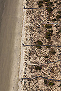 Aerial view private beach walkways in Kiawah Island, SC.