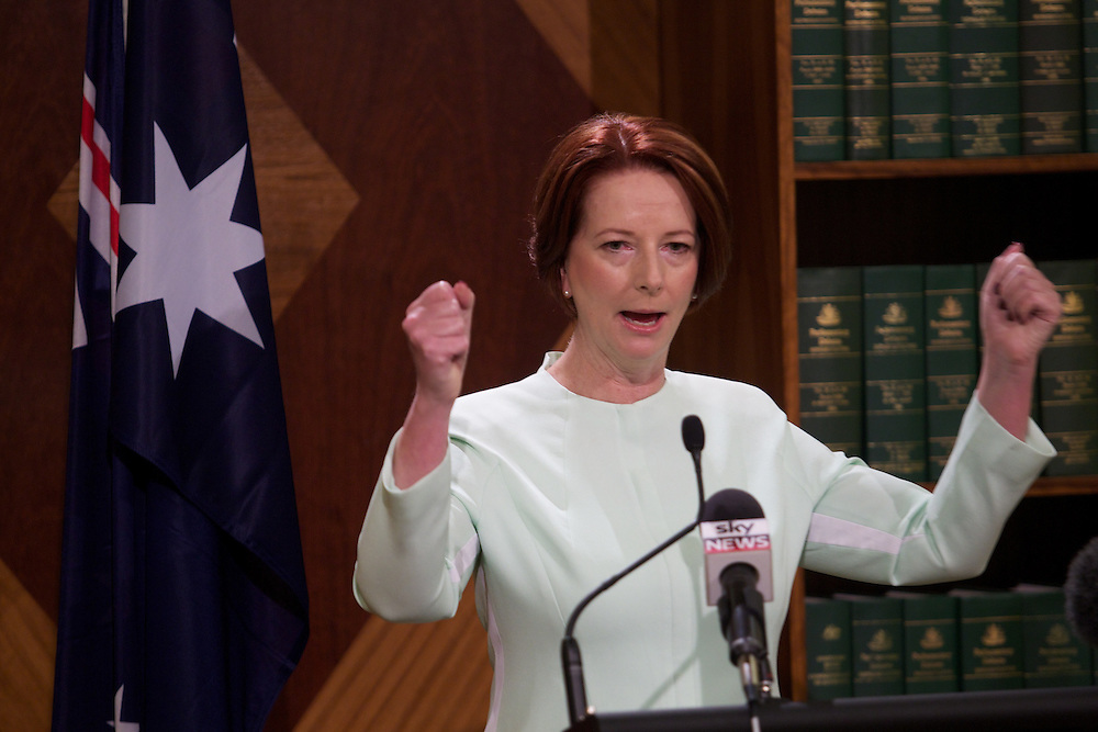 Prime Minister Julia Gillard at a press conference 4 Treasury place talks about an incident that lead to the resignation of one of her staff. Pic By Craig Sillitoe CSZ/The Sunday Age.28/01/2012 melbourne photographers, commercial photographers, industrial photographers, corporate photographer, architectural photographers, This photograph can be used for non commercial uses with attribution. Credit: Craig Sillitoe Photography / http://www.csillitoe.com<br /> <br /> It is protected under the Creative Commons Attribution-NonCommercial-ShareAlike 4.0 International License. To view a copy of this license, visit http://creativecommons.org/licenses/by-nc-sa/4.0/.