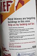 Metal thieves crime warning police poster