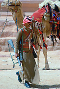 Camel Corps soldier carrying his rifle in Petra, Jordan.
