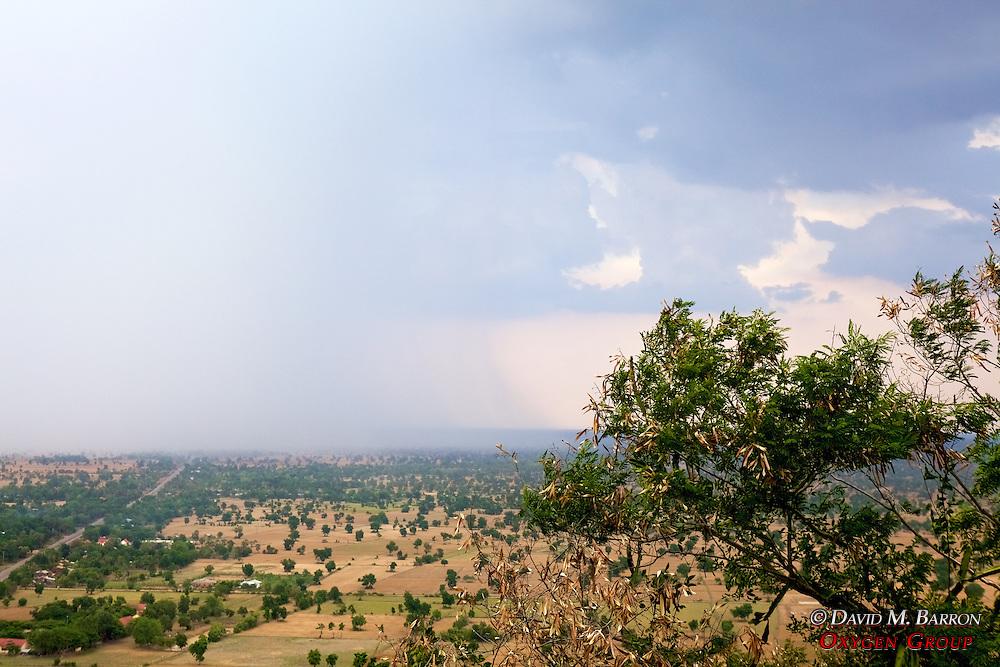 Rain Moving Across The Plain, View From Phnom Sampeau Pagoda