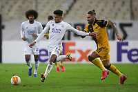 ATHENS, GREECE - OCTOBER 29: James Justinof Leicester City attacks in front of Marko Livajaof AEK Athens during the UEFA Europa League Group G stage match between AEK Athens and Leicester City at Athens Olympic Stadium on October 29, 2020 in Athens, Greece. ((Photo by MB Media)