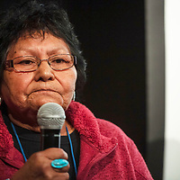 """Thelma Whiskers speaks to how the White Mesa Mill has affected her life after a screening of """"Half Life: The Story of America's Last Uranium Mine,"""" Thursday, Nov. 29 at the International Uranium Film Festival at the Navajo Nation Museum in Window Rock. Whiskers lives in White Mesa, 3 miles from the White Mesa Mill, the last uranium mine in operation."""