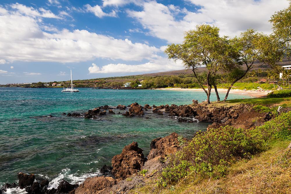 Makena Beach, aka Maluaka Beach, exudes the beauty characteristic of the rocky, southern shore of Maui, Hawaii.