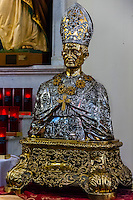 Statue of San Gennaro, this is the statue that is carried in the procession during the Feast of San Gennaro in Little Italy), National Shrine Church of San Gennaro,  Church of the Most Precious Blood, New York, New York USA.