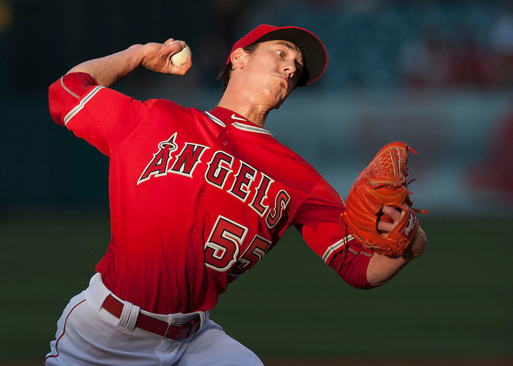 The Angels' Tim Lincecum pitches against the Oakland Athletics Thursday night at Angel Stadium.<br /> <br /> ///ADDITIONAL INFO:   <br /> <br /> angels.0624kjs  ---  Photo by KEVIN SULLIVAN / Orange County Register  --  6/23/16<br /> <br /> The Los Angeles Angels take on the Oakland Athletics Thursday at Angel Stadium.<br /> <br /> <br />  6/23/16