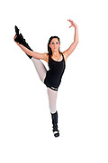 Female teen Ballet Dancer aged thirteen On white Background