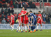 Daniel Ayala of Middlesbrough and Stewart Downing of Middlesbrough embrace at full time during the EFL Sky Bet Championship match between Middlesbrough and Nottingham Forest at the Riverside Stadium, Middlesbrough, England on 7 April 2018. Picture by Paul Thompson.