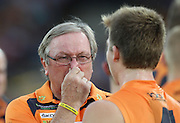 Kevin sheedy coach of the Giants at the quarter break during the 2013 AFL round 03 match between the GWS Giants and the St Kilda Saints at Manuka Oval, Canberra. (Photo: Craig Golding/AFL Media)