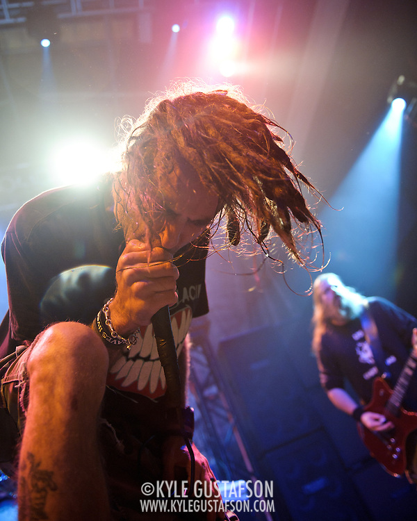 WASHINGTON, DC - January 23rd, 2012 - Randy Blythe and Mark Morton of the Richmond, VA-based heavy metal band Lamb of God perform at the 9:30 Club in Washington, D.C. The band released their seventh studio album, Resolution, earlier in the week. (Photo by Kyle Gustafson/For The Washington Post)