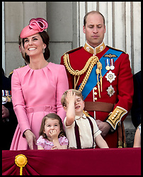 June 17, 2017 - London, London, United Kingdom - Trooping the Colour.  Prince George and Princess Charlotte join HM The Queen Elizabeth II and the Duke of Edinburgh on the balcony of   Buckingham Palace for Trooping the Colour. (Credit Image: © Andrew Parsons/i-Images via ZUMA Press)