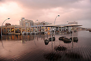 Israel, Tel Aviv, The renovated old port now an Entertainment Centre during a rain storm