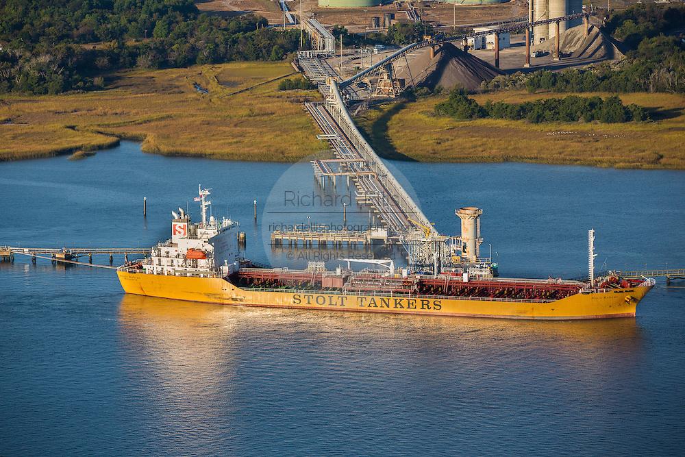 Aerial view of a tanker ship Charleston, South Carolina.