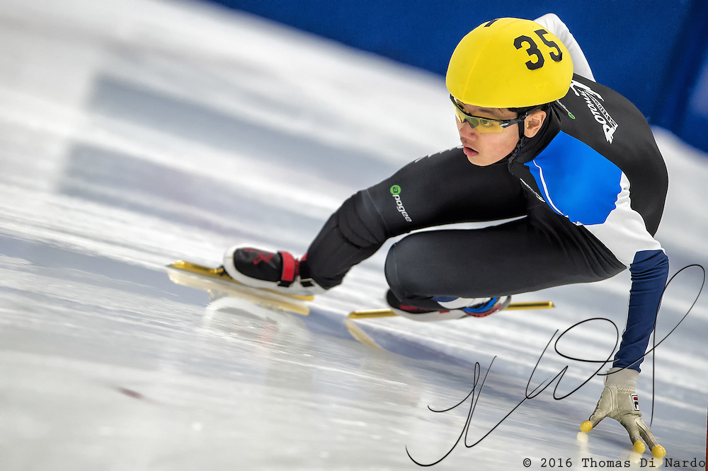 March 18, 2016 - Verona, WI - Brandon Kim, skater number 35 competes in US Speedskating Short Track Age Group Nationals and AmCup Final held at the Verona Ice Arena.