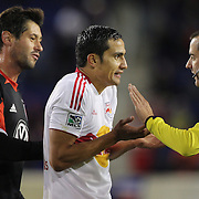 Tim Cahill, Red Bulls, argues a call with referee Mark Geiger during the New York Red Bulls V D.C. United Major League Soccer, Eastern Conference Semi Final 2nd Leg match at Red Bull Arena, Harrison. New Jersey. USA. 8th November 2012. Photo Tim Clayton