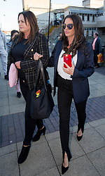 Katie Price (right) leaves Bexley Magistrates' Court following her drink driving trial where she was banned from driving for three months, adding to the ban from earlier this year for driving while disqualified.