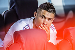 August 13, 2017 - Barcelona, Catalonia, Spain - Real Madrid forward RONALDO looks on sitting on the reserve bench prior to the Spanish Super Cup Final 1st leg between FC Barcelona and Real Madrid at the Camp Nou stadium in Barcelona. (Credit Image: © Matthias Oesterle via ZUMA Wire)