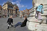 Gent, Belgie, Mar 11, 2009, Scene at the statue of Jacob Van Artevelde.