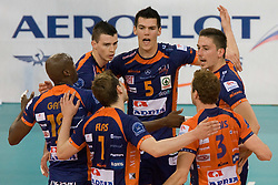 Players of ACH celebrate at 2nd Semifinal match of CEV Indesit Champions League FINAL FOUR tournament between ACH Volley, Bled, SLO and Trentino BetClic Volley, ITA, on May 1, 2010, at Arena Atlas, Lodz, Poland. (Photo by Vid Ponikvar / Sportida)