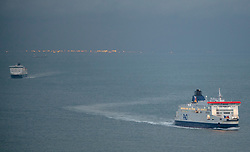 © Licensed to London News Pictures. 12/12/2020. <br /> Dover, UK. P&O ferries heading for the Port of Dover in Kent this evening from France. When the Brexit transition period end on December 31st there will be new rules for travelling to the EU. Photo credit:Grant Falvey/LNP